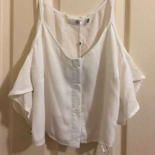 Cold Shoulder Button Front Crop Top White