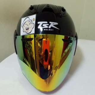 2801*** TSR Helmet with Gold VisorFor Sale 😁😁Thanks To All My Buyer Support 🐇🐇 Yamaha, Honda, Suzuki