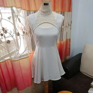 Off white dress with lace collar