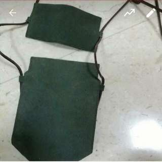 Genuine Leather Green Suede Crossbody Pouch