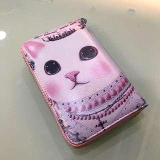 🚚 全新 粉紅貓咪中夾 皮夾