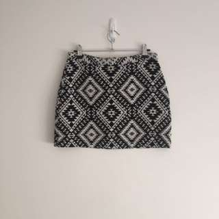 Topshop Black And White Skirt