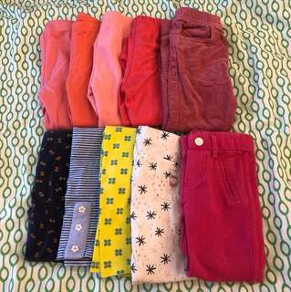 $30 for 10 pairs Carters, Poney, Pumpkin Patch, Mothercare, Monsoon Girls 12-18 months Pants / Leggings