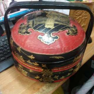 Chinese Traditional Festival Custom of Wedding Bamboo Lacquer Basket.