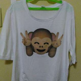 White hanging shirt with design