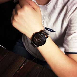 Analog Wrist Watch with Leather Strap