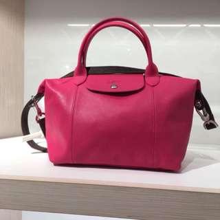 Longchamp 真品小羊皮限量款拼色包