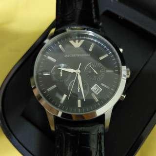(二手正品) Emporio Armani 皮帶腕錶 黑色