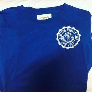 Abercrombie & Fitch 亮藍色長袖logo上衣