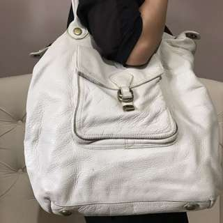 White Leather Weekend Bag