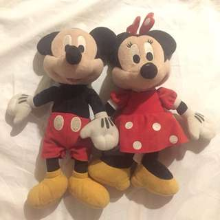 Authentic Mickey Mouse and Minnie Mouse Plush Stuff Toys Disney