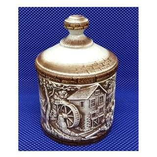 Vintage 1990s Porcelain Container With Lid: Depictions Of Old English Town Countryside Barn Farm With Water Mills