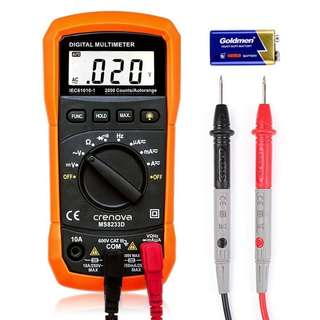 Digital Multimeter, Crenova MS8233D Auto-Ranging Digital Multimeters Electronic Measuring Instrument AC Voltage Detector Portable Amp / Ohm / Volt Test Meter Multi Tester Diode and Continuity Test Scanners