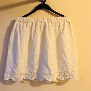白色花花半截裙 短裙 white lace skirt dress