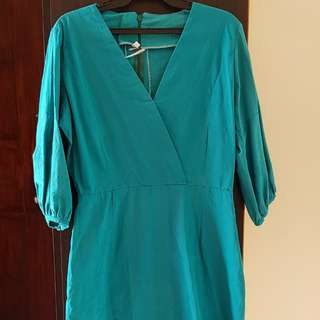 Blue green tunic dress small to med