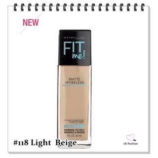 💕 Instock 💕 Maybelline Fit Me Matte + Poreless Foundation 💋 #118 Light Beige 💋