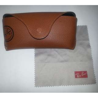 Ray-Ban Original Brown PU Leather Case & Microfiber Lens Cleaning Cloth