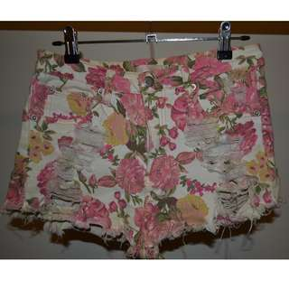 Floral Print Ripped Shorts
