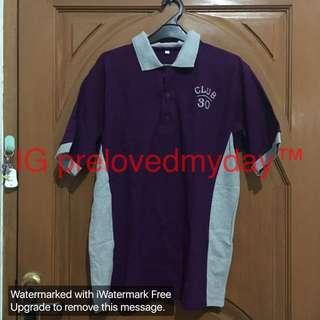 Polo shirt ungu kombinasi abu