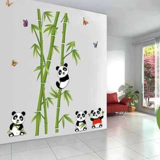 Panda on Bamboos Wall Decal Sticker