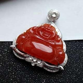 🎍18K White Gold - Grade A 冰糯 Red Laughing/Wealth Buddha Jadeite Jade Pendant🎍