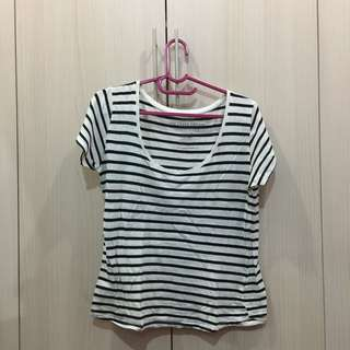 Cotton On Striped T-Shirt (Black and White)