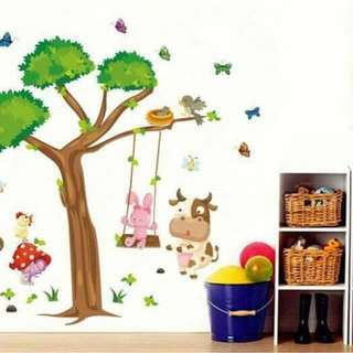Colorful Animals Tree Wall Decal Sticker