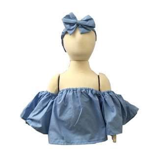 Off Shoulder Top and Headband Set (Blue)