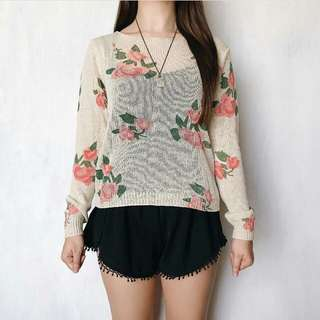 Floral knitted sweater
