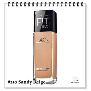 💕 Instock 💕 Maybelline Fit Me DEWY + Smooth Foundation 💋 #210 Sandy Beige 💋