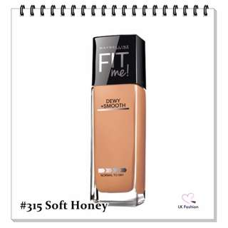 💕 Instock 💕 Maybelline Fit Me DEWY + Smooth Foundation 💋 #315 Soft Honey 💋