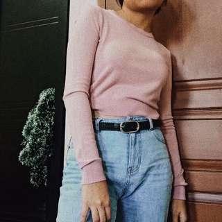 Bershka pastel pink top