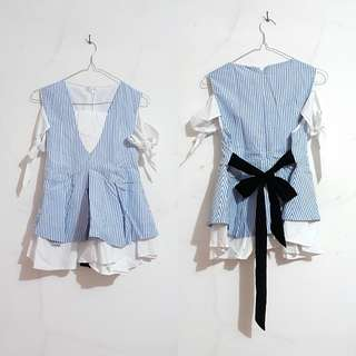 White & Blue Top Stripes Sabrina with Black Bow