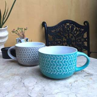 Extra Large Size Coffee Cups / Mugs (like a bowl!) Seaside Collection C