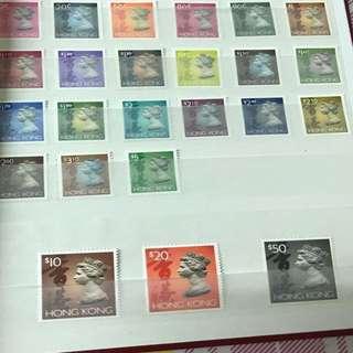 1992年香港通用郵票1毫至50蚊及1994年香港通用郵票 散裝1毫至5蚊(細面額)