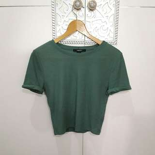 Forever 21 green knitted crop top