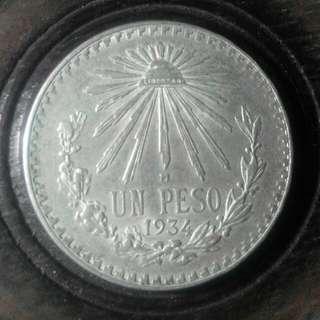 1934年經典墨西哥鷹洋銀元