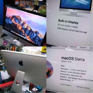 Apple iMac 27 i5 Radeon Graphic 8GB 1TB 2K Display $1145
