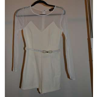 White Playsuit with Belt