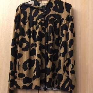豹紋連帽針織外套