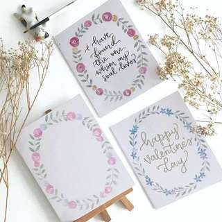 Floral wreath valentine's day calligraphy cards