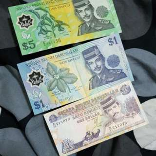 BRUNEI $1& $5 Old Notes