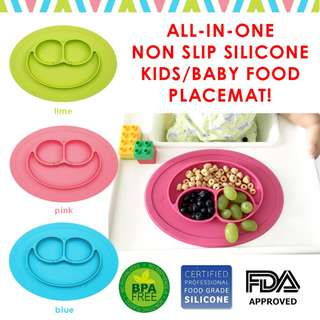All-in-One Non Slip Silicone Placemat★Baby Kids Toddler Plate★Similar to EZPZ★Suction Plate Bowl★Panda Bear★Whale★Smiley★Mini Mat★Children Feeding Plate★One-piece Silicone Panda Bear Food Placemat