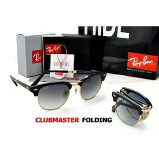 RayBan Clubmaster Folding RB2176 Black Frame, Grey Gradient Lens
