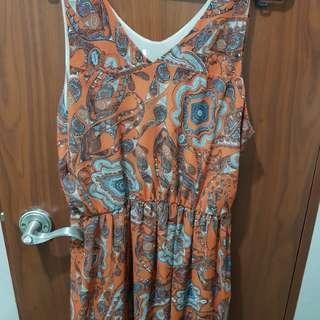 Printed orange summer dress
