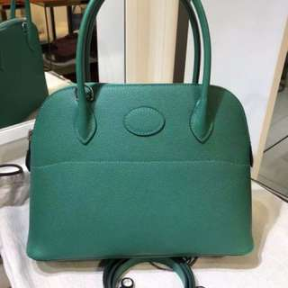 正品 全新 Hermes Bolide 27 U4 絲絨綠Epsom 手挽側揹袋