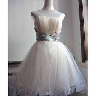 手工釘珠平口蓬裙小禮服