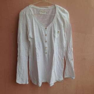 Zara Basic - kaos putih polos lengan panjang