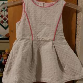 Gingersnaps Tiny 24 Plain white dress with pink pipinh