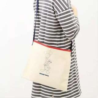 日本雜誌附錄 Donald duck 唐老鴨 新款帆布包 薄款簡約輕便休閒單肩斜挎包 補習袋